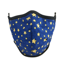 Load image into Gallery viewer, Namaske Fabric Face Mask with Golden Stars on blue fabric