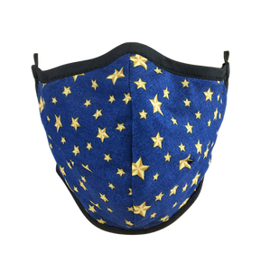 Namaske Fabric Face Mask with Golden Stars on blue fabric