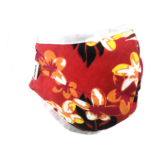 Hawaiian Flowers Red - Namaske Style Face Mask