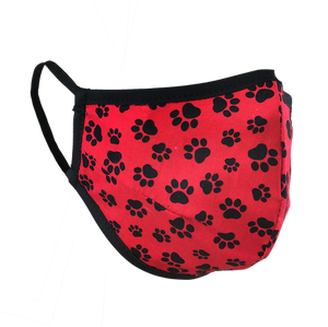 Namaske reusable fabric face mask with black paw prints on red fabric