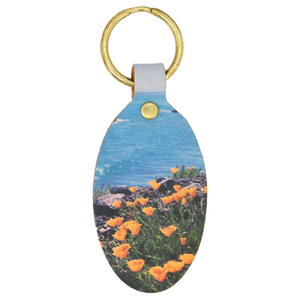 "Oval Leather Key Chain ""California Poppies"""