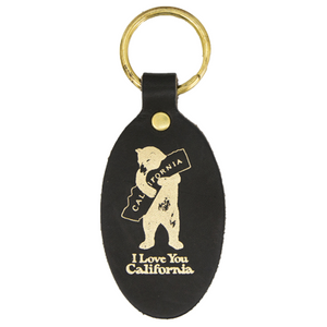 "Oval Leather Key Chain ""I Love You California"""