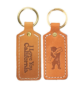 "Doublesided Leather Key Chain ""I Love You California"""