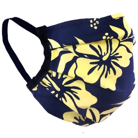 Hawaiian Flowers Yellow - Surgical Style Face Mask