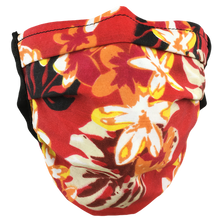 Load image into Gallery viewer, Hawaiian Flowers Red - Surgical Style Face Mask