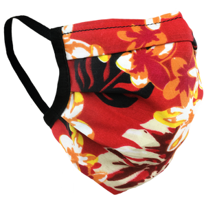 Hawaiian Flowers Red - Surgical Style Face Mask