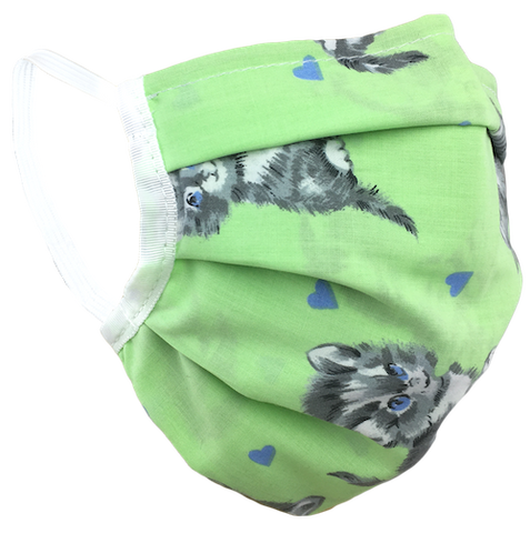 Kittens Green - Surgical Style Face Mask