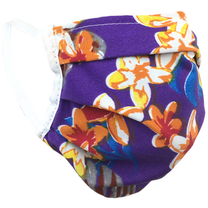 Hawaiian Flowers Purple - Surgical Style Face Mask