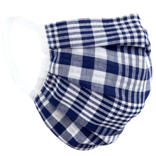 Load image into Gallery viewer, Blue White Plaid - Surgical Style Face Mask
