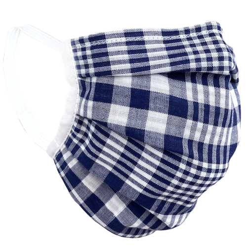 Blue White Plaid - Surgical Style Face Mask