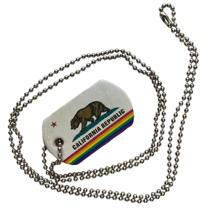 Leather Dog Tag California Pride