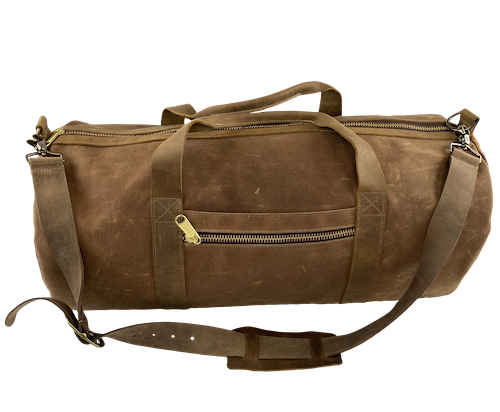 Waxed Canvas Duffle Bag Brown