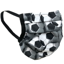 Load image into Gallery viewer, Soccer Balls Black-White - Surgical Style Face Mask