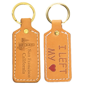 "Doublesided Leather Key Chain ""I Left My Heart"""