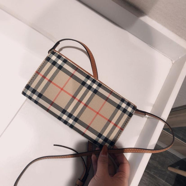 Vintage Check and Leather Wallet with Detachable Strap