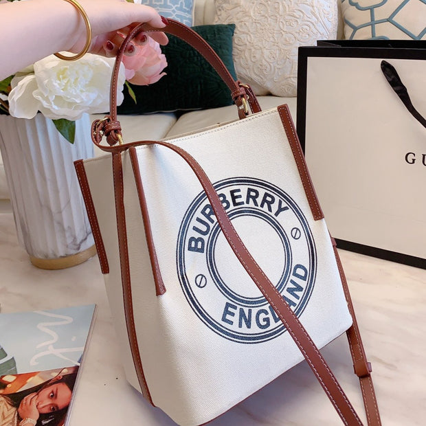 Small Logo Graphic Cotton Canvas Peggy Bucket Bag