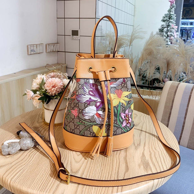 Ophidia YELLOW Flora small bucket bag
