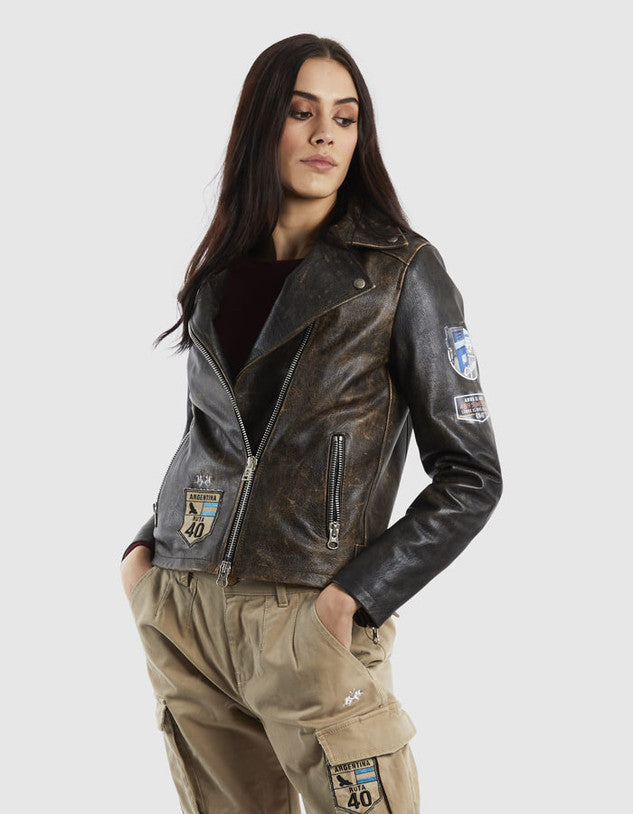 WOMAN LEATHER JACKET QUINTETTA