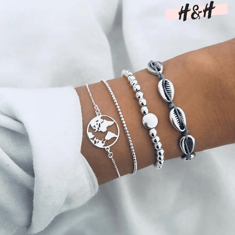 Harry and Hope DESIGN - Ensemble de 4 bracelets argentés