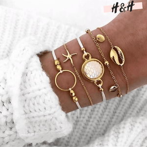 Harry and Hope DESIGN - Ensemble de 5 bracelets blancs et dorés
