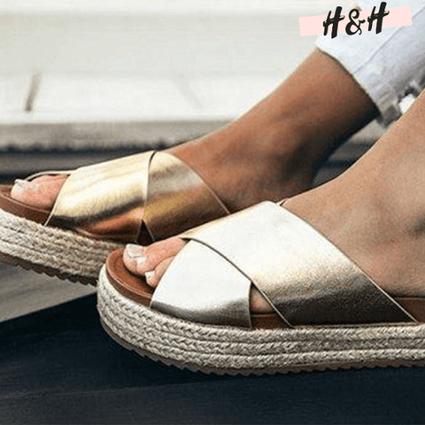 Harry and Hope DESIGN - Sandales compensées gold