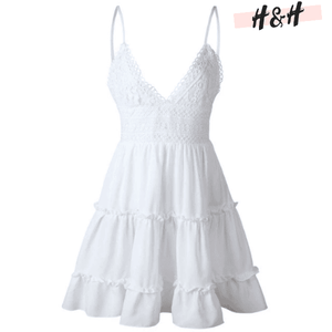 Harry and Hope DESIGN - Robe blanche à bretelles