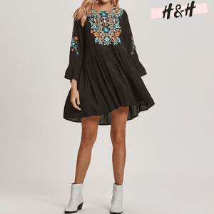 Harry and Hope DESIGN - Robe noire imprimé fleuri