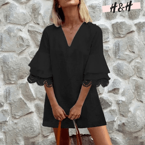 Harry and Hope DESIGN - Robe manches à volants noirs