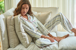 THE LAZY POET EMMA LINEN INK STRIPE PAJAMA SET