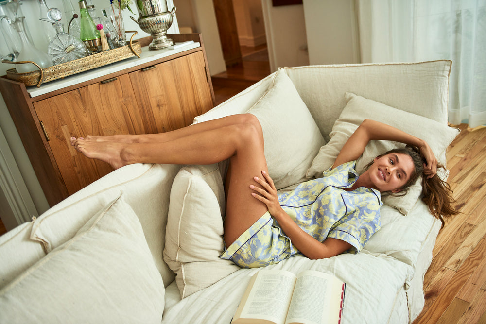 Load image into Gallery viewer, THE LAZY POET NINA LINEN PAJAMA SET IN SLEEP MONKEY PRINT
