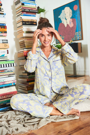 THE LAZY POET EMMA LINEN SLEEP MONKEY PAJAMA SET