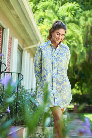Load image into Gallery viewer, THE LAZY POET SISSY LINEN SLEEP SHIRT IN SLEEP MONKEY PRINT