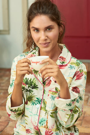THE LAZY POET EMMA COMBED COTTON PAJAMA SET IN HAWAIIAN VIBES