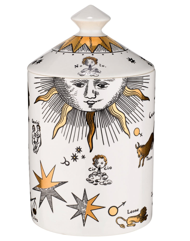 Load image into Gallery viewer, FORNASETTI SMALL ASTRONOMICI BIANCO GOLD CANDLE 10.5 OZ