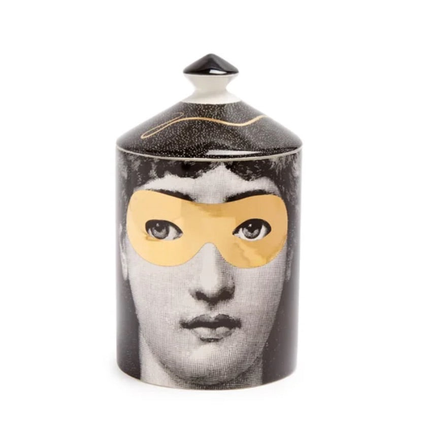 FORNASETTI SMALL GOLDEN BURLESQUE CANDLE 10.5 OZ