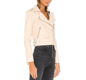 IRO PARIS ASHVILLE LEATHER JACKET IN NATURAL BLUSH