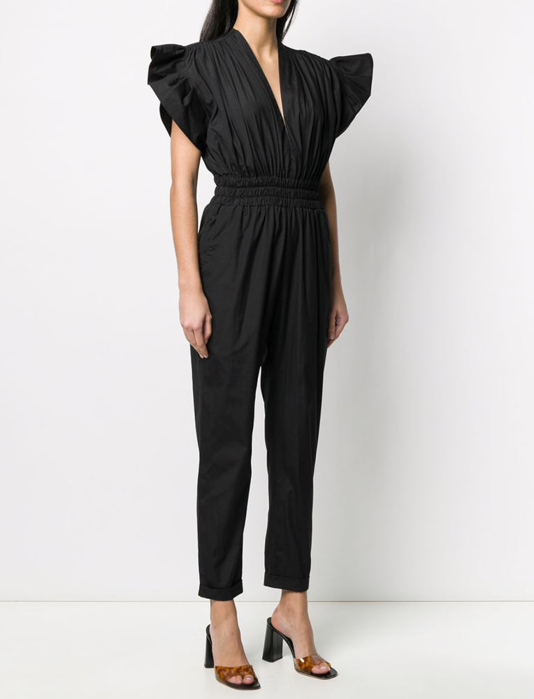 Load image into Gallery viewer, IRO PARIS PLEATED RUFFLE COTTON JUMPSUIT