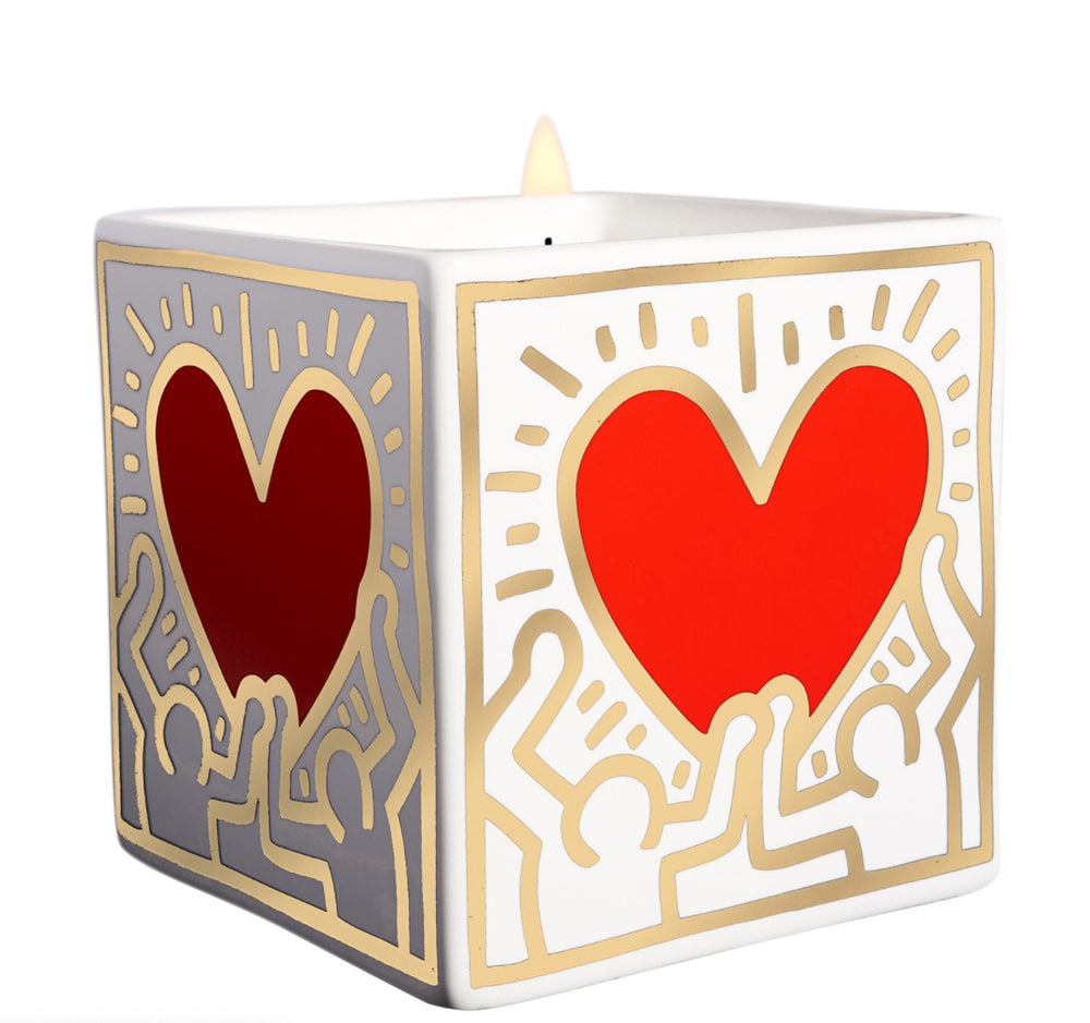 "KEITH HARING ""RED HEART WITH GOLD"" 9 0Z"