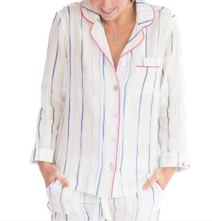 Load image into Gallery viewer, THE LAZY POET EMMA LINEN INK STRIPE PAJAMA SET