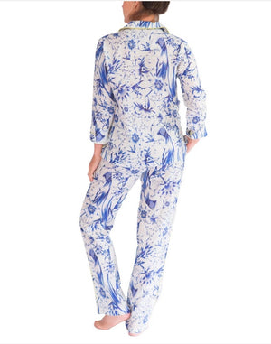Load image into Gallery viewer, THE LAZY POET EMMA LINEN TROPICAL PARADISE BLUE PAJAMA SET