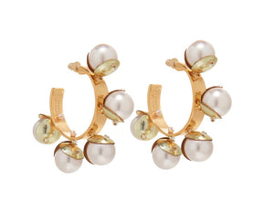 MIGNONNE GAVIGAN DELFINIA ROSE GOLD HOOP PEARL EARRINGS