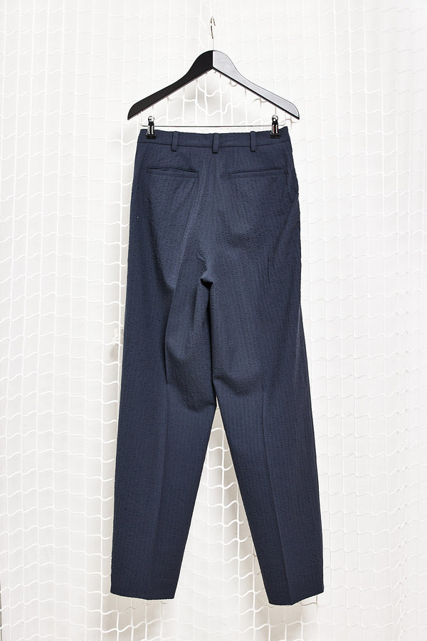Navy Seersucker Trousers