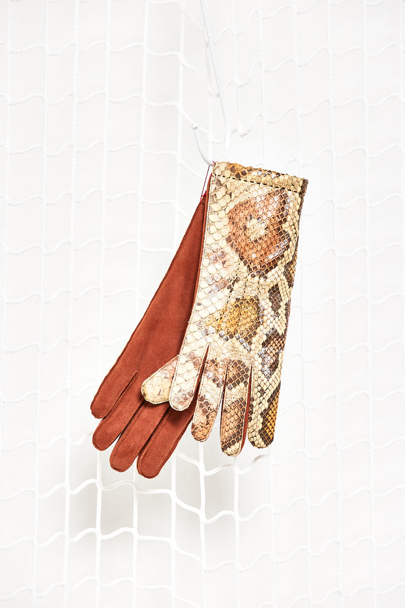 Ocher Gloves Python Leather