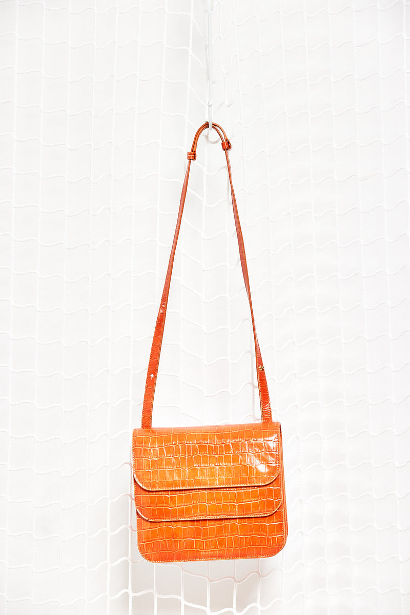 Orange Fake Croco Bag