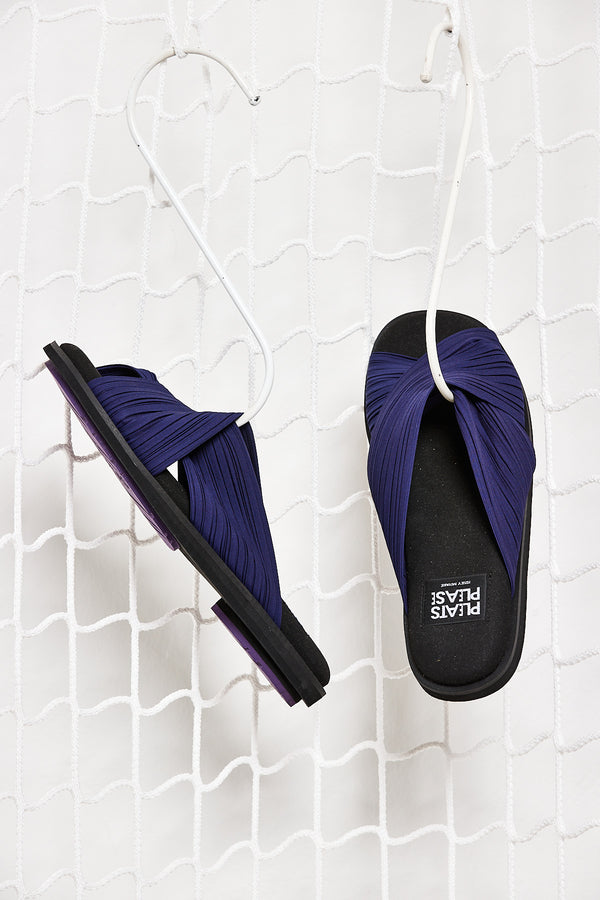 Blue Pleated Sandals