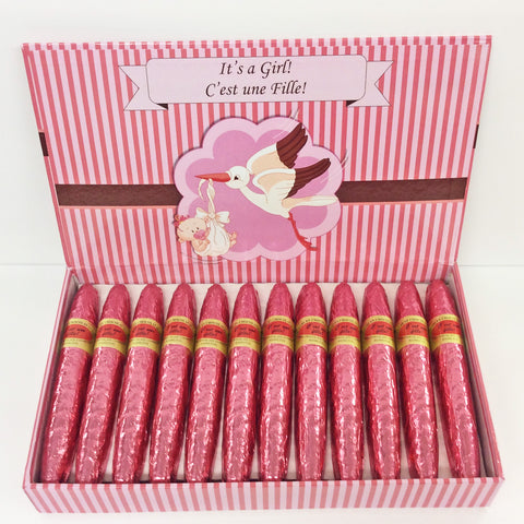 It's a Girl / C'est une Fille Milk Chocolate Cigars - 24 pack