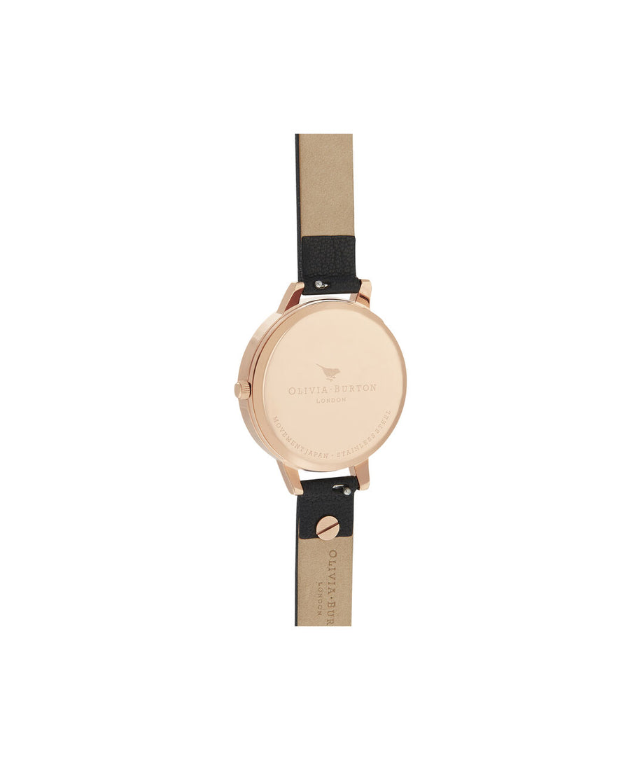 Olivia Burton - Bejewelled Florals Embellished Black & Rose Gold