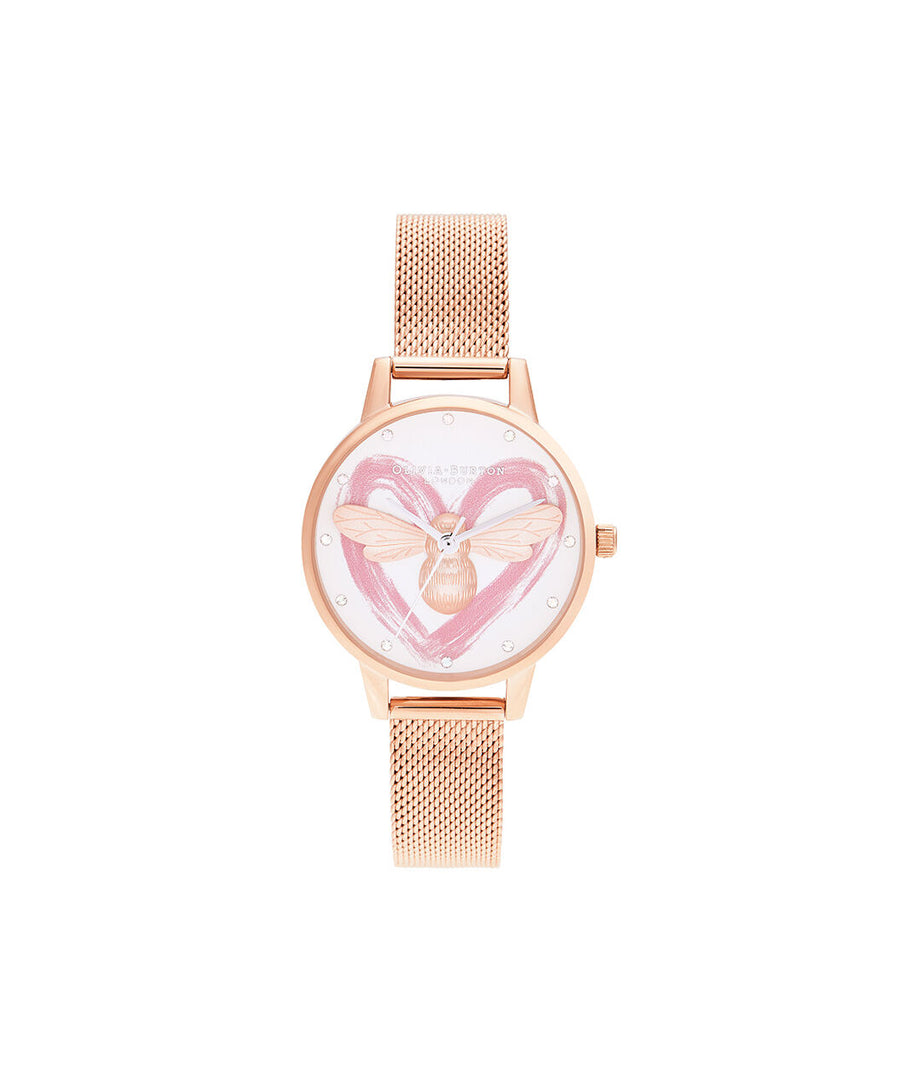 Olivia Burton - You Have My Heart Lucky Bee, Silver & Rose Gold Mesh