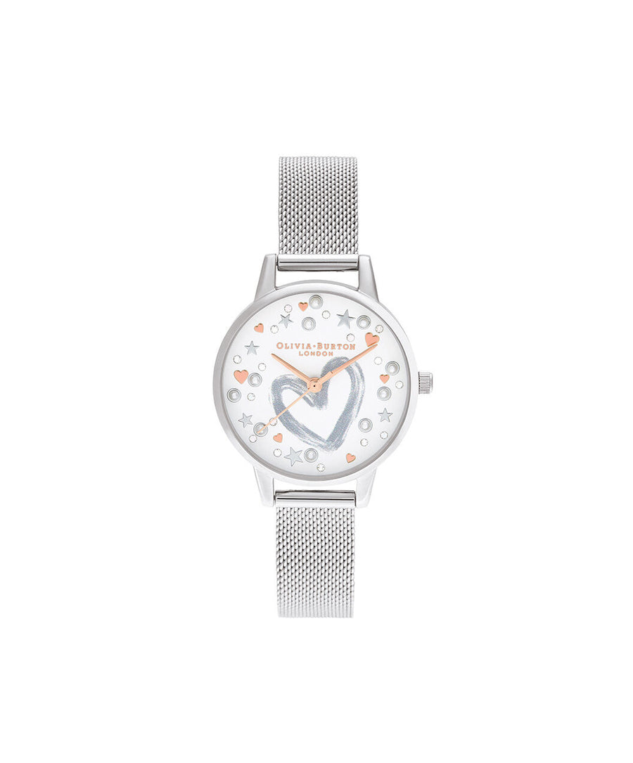 Olivia Burton - You Have My Heart Rose Gold & Silver Mesh