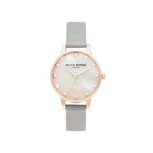 Olivia Burton - Midi Mother Of Pearl Dial Grey & Rose Gold Watch